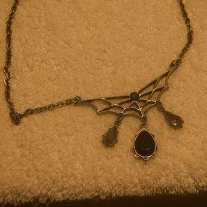 Spiderweb design necklace goth punk rocker demonic